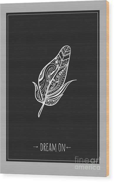 Ethnic Design Poster With Feather Wood Print