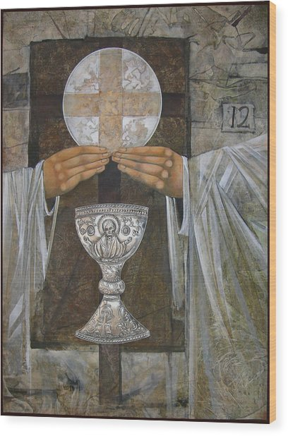 Eucharist Wood Print by Mary jane Miller