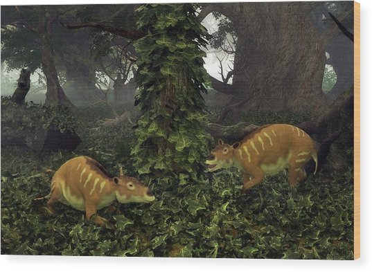 Eurohippus Prehistoric Mammals Wood Print by Walter Myers