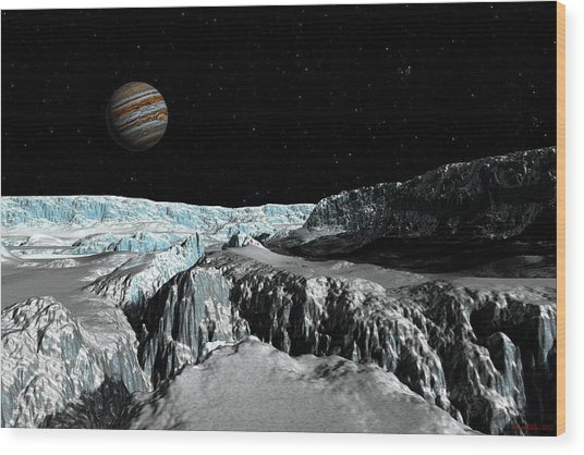 Europa's Icefield  Part 2 Wood Print