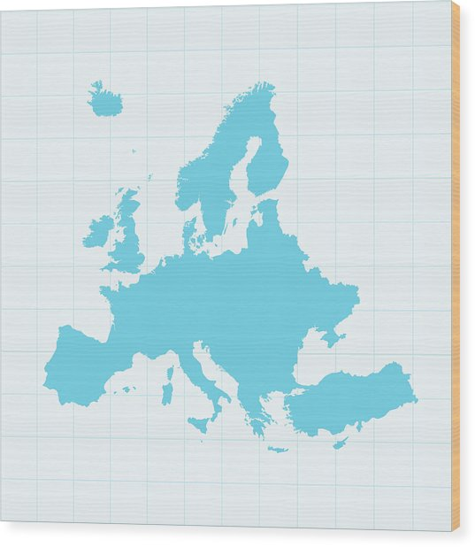 Europe Map On Grid On Blue Background Wood Print by Iconeer