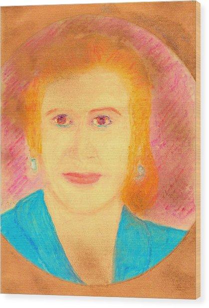 Eva Peron Orange Wood Print by Richard W Linford
