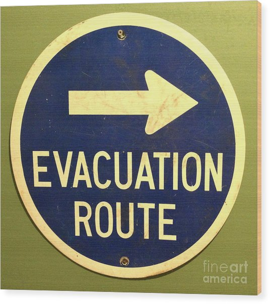 Evacuation Route Wood Print