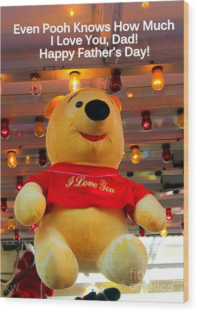 Even Pooh Knows Card Wood Print