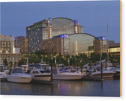 Evening At Washington National Harbor Wood Print