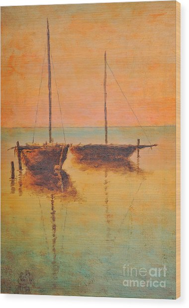 Evening Boats Wood Print