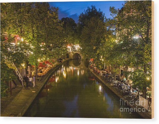 Evening Canal Dinner Wood Print