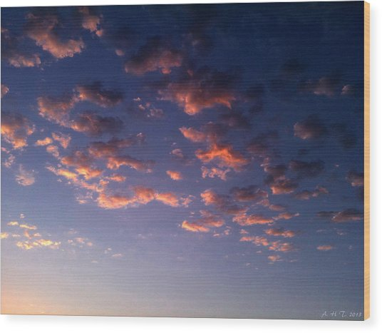 Evening Embracing Clouds Wood Print