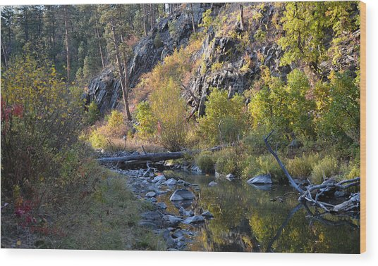Evening Falls On Spring Creek Wood Print