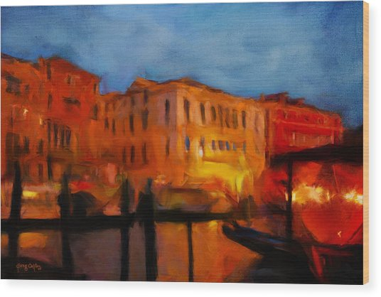 Evening In Venice Wood Print