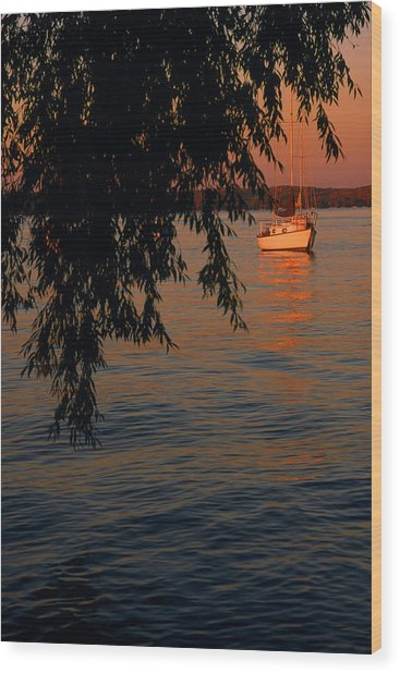 Evening Mooring - Lake Geneva Wisconsin Wood Print