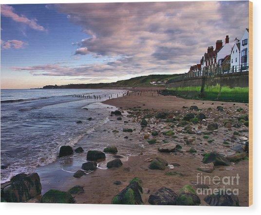 Evening On Sandsend Beach Yorkshire Wood Print