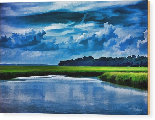 Evening On The Marsh Wood Print