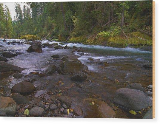 Evening On The Santiam River Wood Print