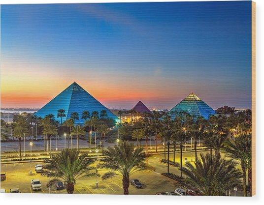 Evening Pyramids Wood Print