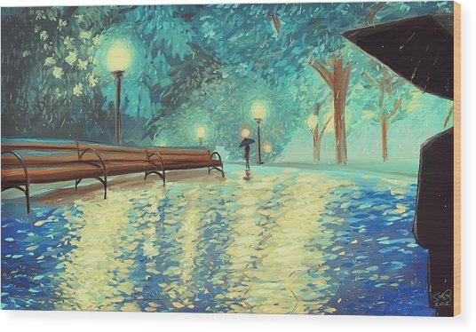Evening Rain Wood Print by Samantha Ramsay Behrman