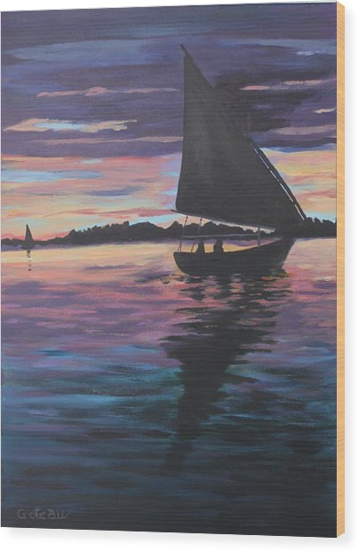 Evening Sail Wood Print by Jane Croteau