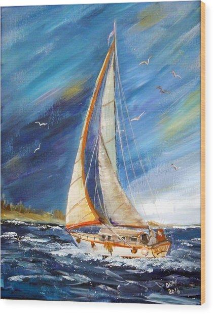 Evening Sailing Wood Print