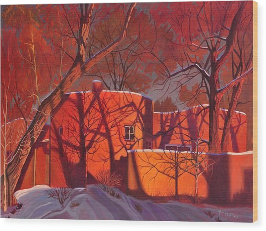 Evening Shadows On A Round Taos House Wood Print