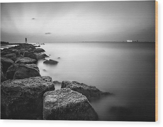 Evening Stillness Bw Wood Print