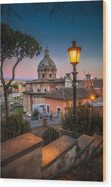 Evening Stroll In Rome Wood Print by W Chris Fooshee