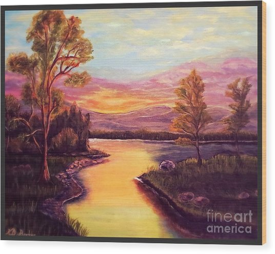 Evening Sun Sets Over A Lake Somewhere Off The Gulf Of Mexico Wood Print