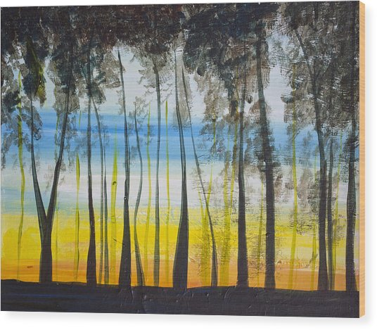Evening Trees Wood Print