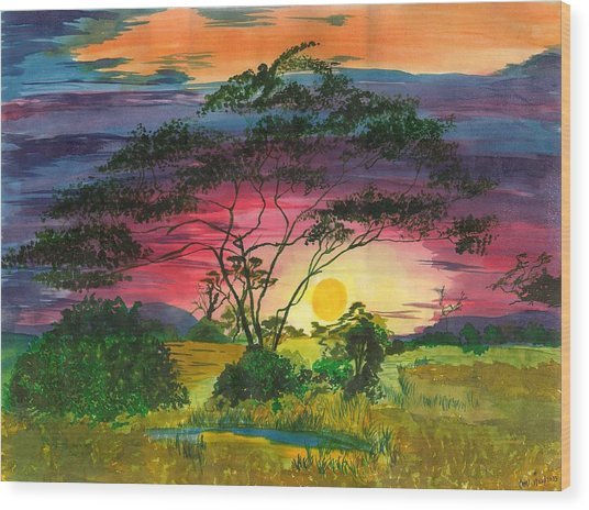 Evenings Bliss Wood Print by Beverly Marshall