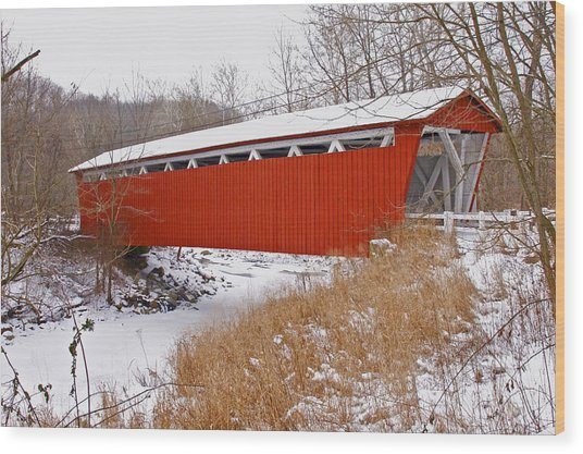 Everett Rd. Covered Bridge In Winter Wood Print