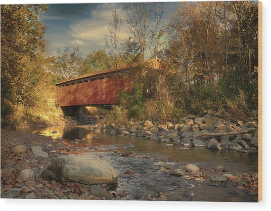 Everett Rd Summit County Ohio Covered Bridge Fall Wood Print