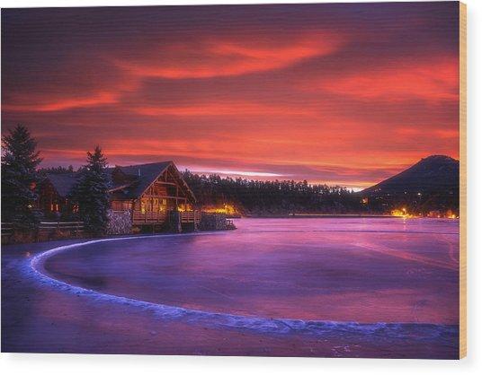 Evergreen Lake Sunrise Wood Print