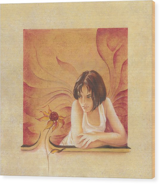 Everyday Angel With Flower Wood Print