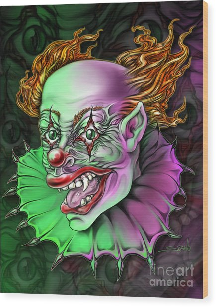 Evil Clown By Spano Wood Print