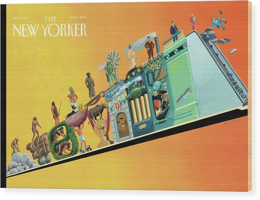 Evolution Of Man And Inventions Wood Print by Bruce McCall