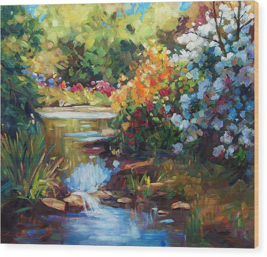 Exbury Spring Lake Wood Print