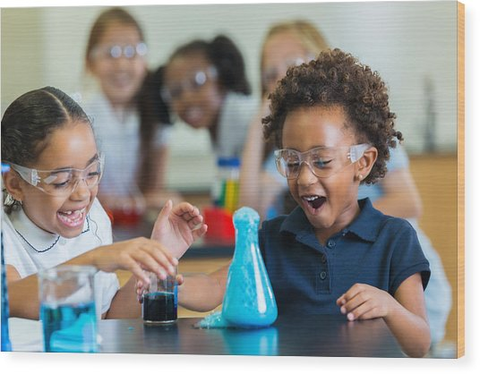 Excited School Girls During Chemistry Experiment Wood Print by Steve Debenport