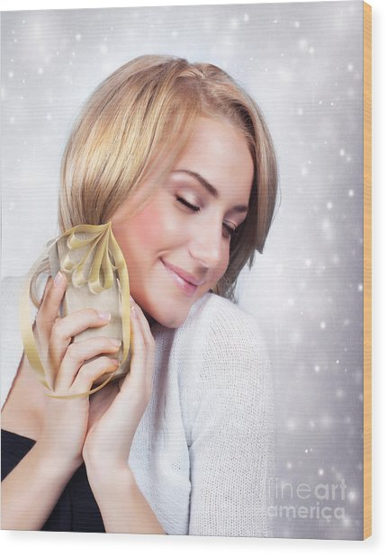 Excited Woman With Gift Box Wood Print