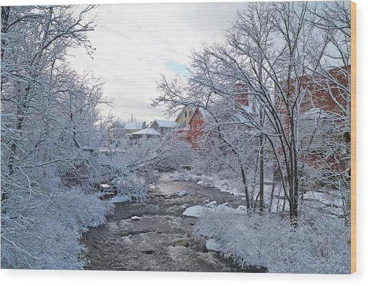 Exeter River With Snow And Ice Wood Print
