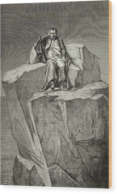 Exiled On Saint Helena, He  Chooses Wood Print by Mary Evans Picture Library