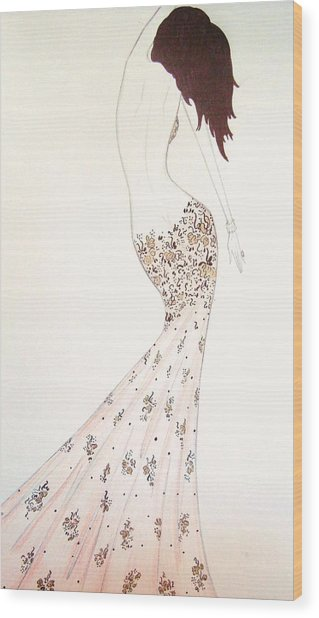 Exotic Lilies Gown Wood Print by Christine Corretti