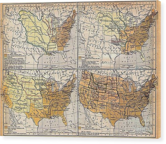 Expansion Of United States Territory Wood Print by Pg Reproductions