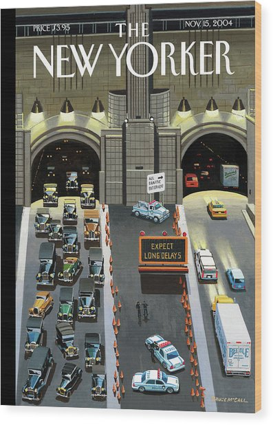 Expect Long Delays Wood Print by Bruce McCall