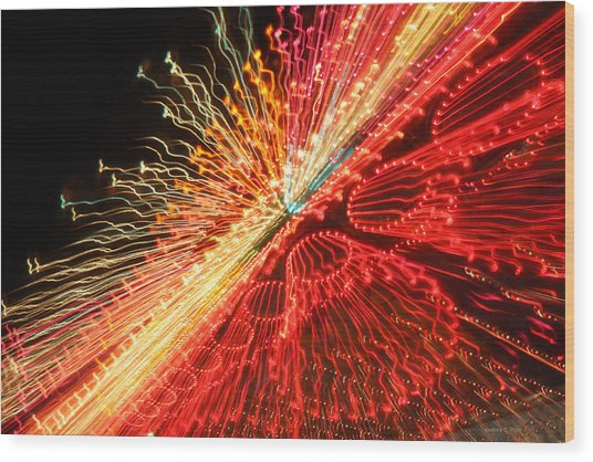 Exploding Neon Wood Print