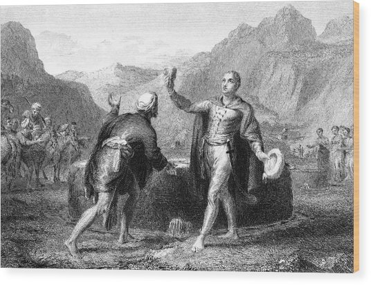 Explorer James Bruce Reaches The Source Wood Print by Mary Evans Picture Library