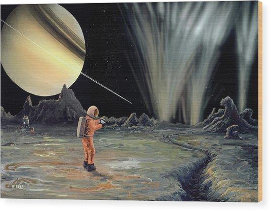 Exploring Enceladus Wood Print by Richard Bizley
