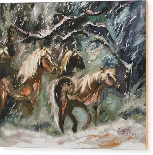 Expressive Haflinger Horses In Snow Storm Wood Print