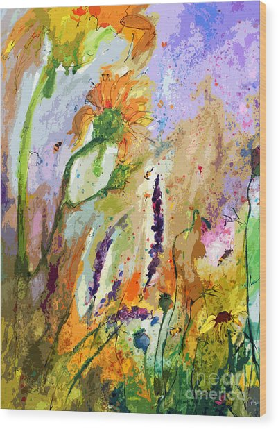 Expressive Sunflowers Lavender And Bees Wood Print