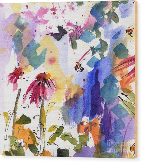 Expressive Watercolor Flowers And Bees Wood Print