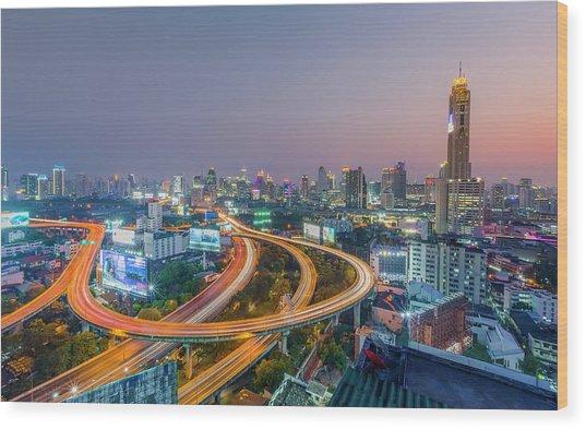 Expressway In Bangkok Wood Print by Chalermkiat Seedokmai