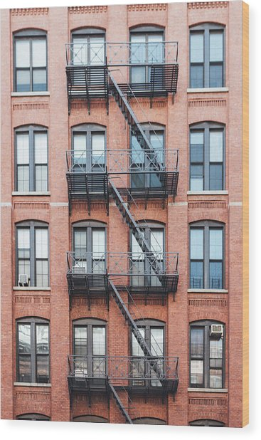 Exterior Of Buildings In New York City Wood Print by Deimagine